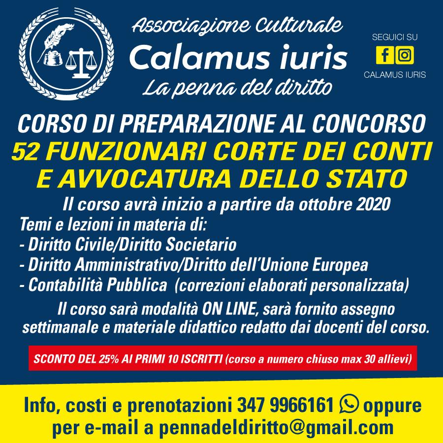 Corso 52 posti Funzionari C. Conti e Av. Stato